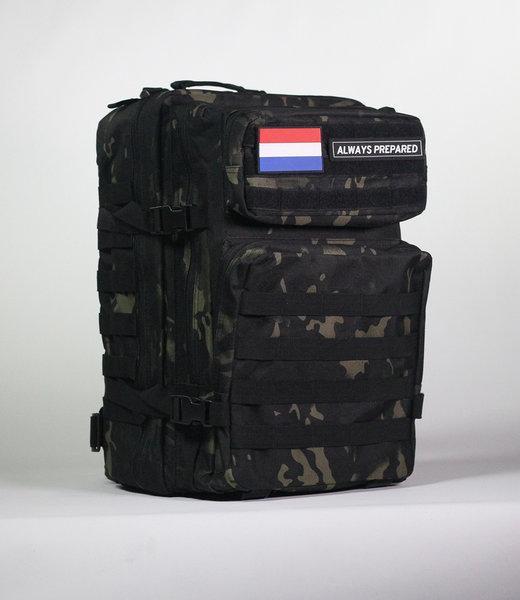 Always Prepared Black Camo Backpack 45L