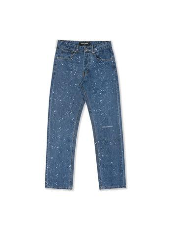 Cold Wash Splatter Lasered Jeans Dark Blue