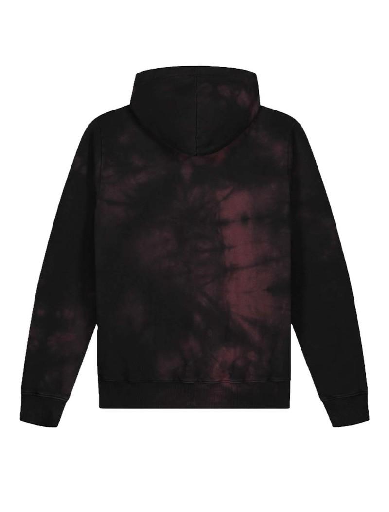 OLAF HUSSEIN Tie Dye Uniform Hoodie Black Burgundy