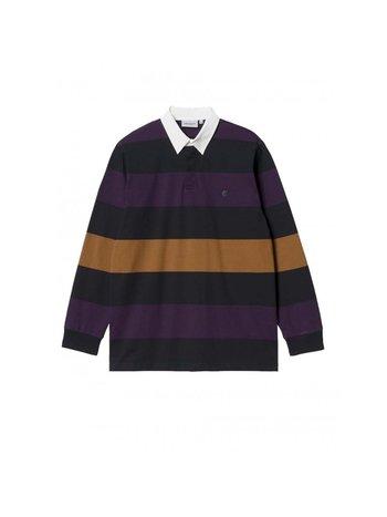 Carhartt WIP L/S Hansen Rugby Polo Hansen Stripe Black Wax