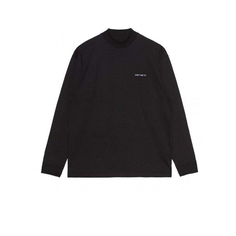 Carhartt WIP L/S Mockneck Script Embro T-Shirt Black White