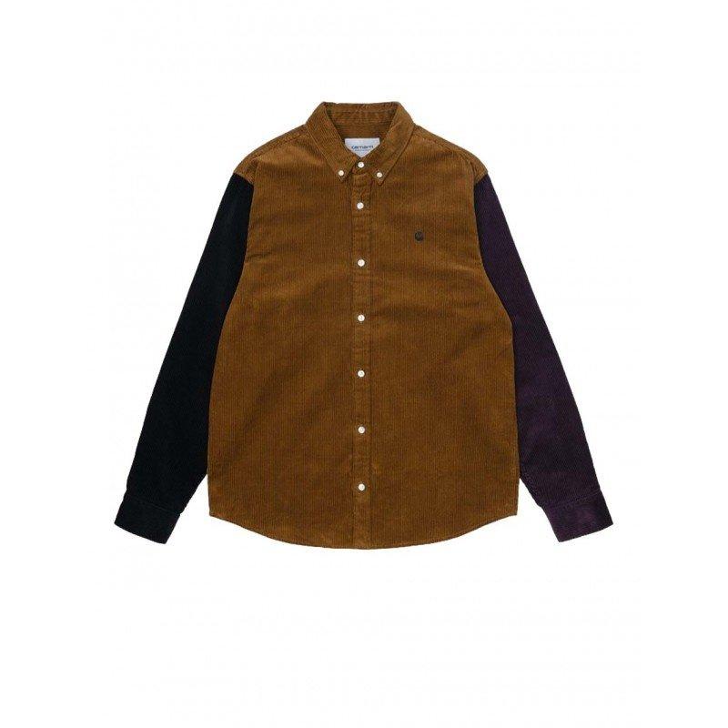 Carhartt WIP L/S Triple Madison Corduroy Shirt Tawny Black Dark Iris