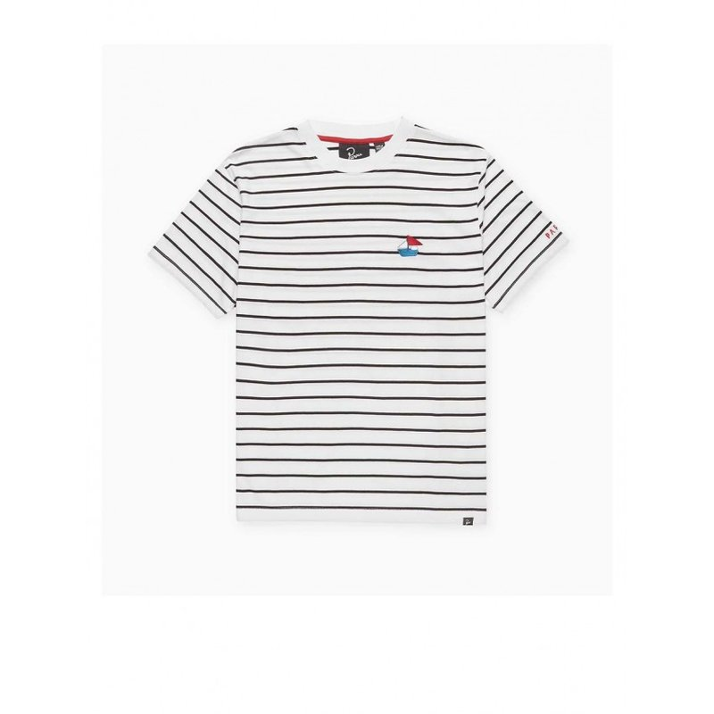 By Parra Paper Boat Striper T-Shirt White