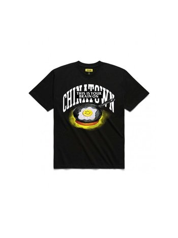 Chinatown Market Smiley Brain On Fried T-Shirt Black