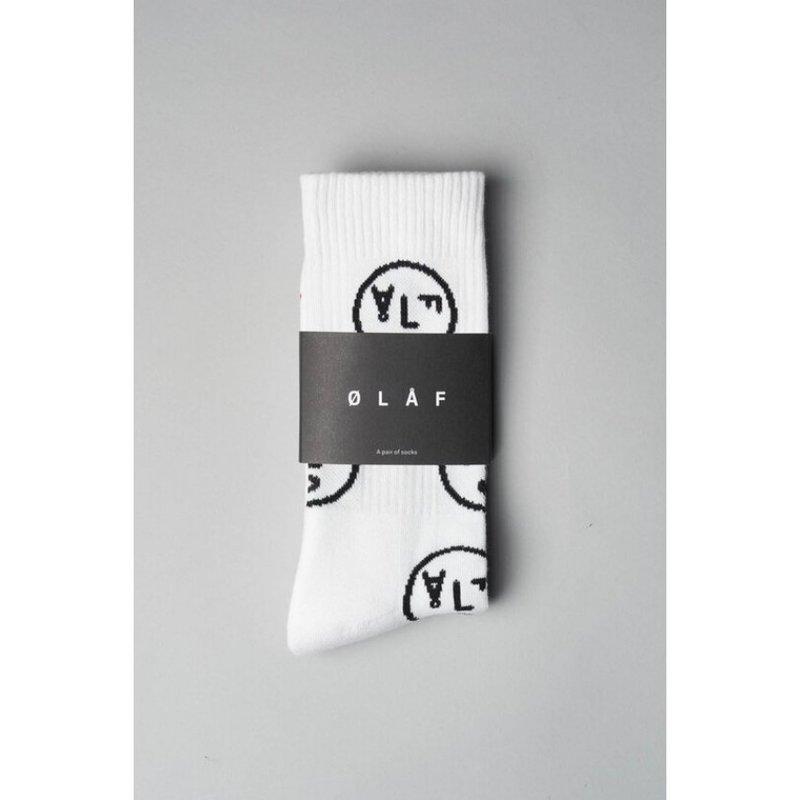 OLAF HUSSEIN Olaf Face Socks White
