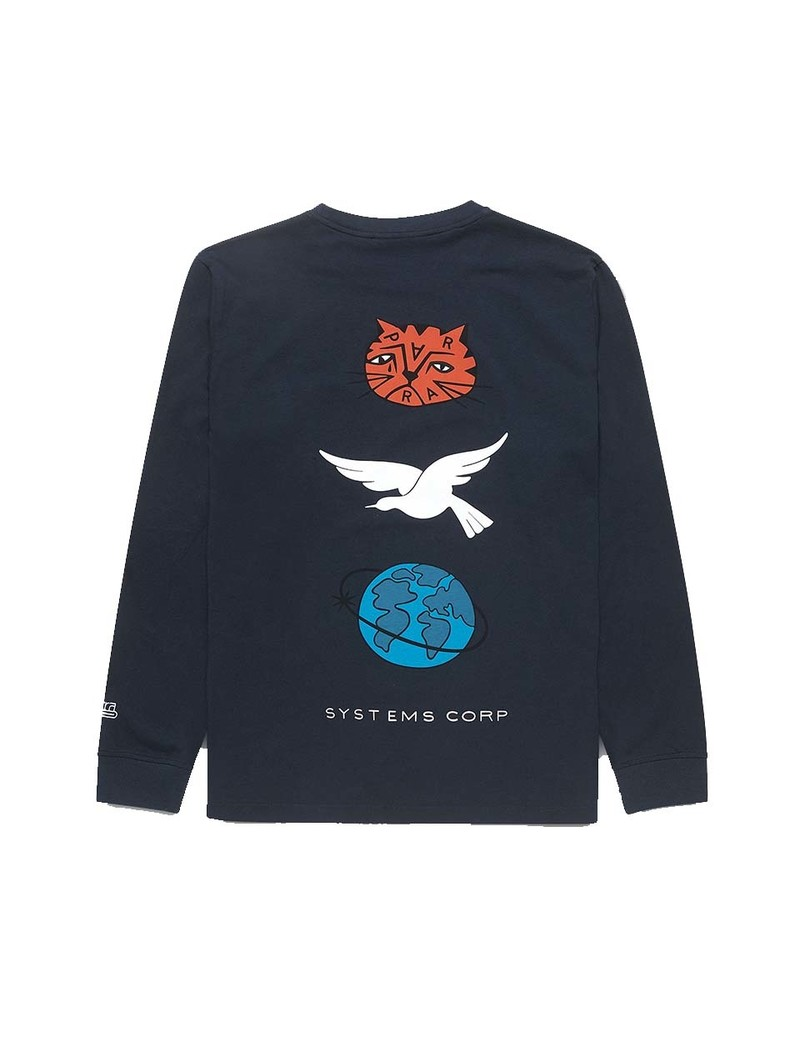 By Parra Sad Cat System Bird Long Sleeve T-shirt Navy Blue