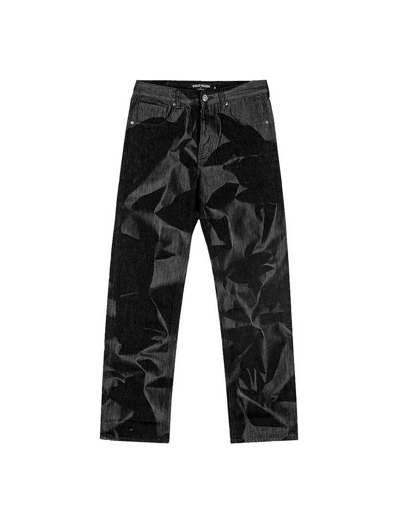 Cold Wash Crumpled Lasered Jeans Black