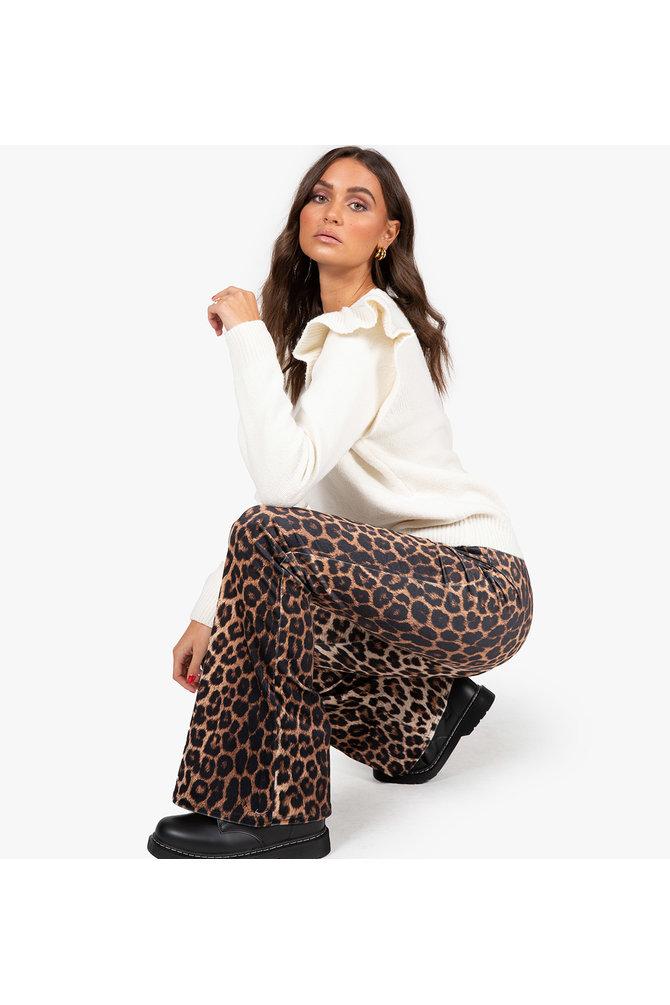 Flared broek met luipaard print