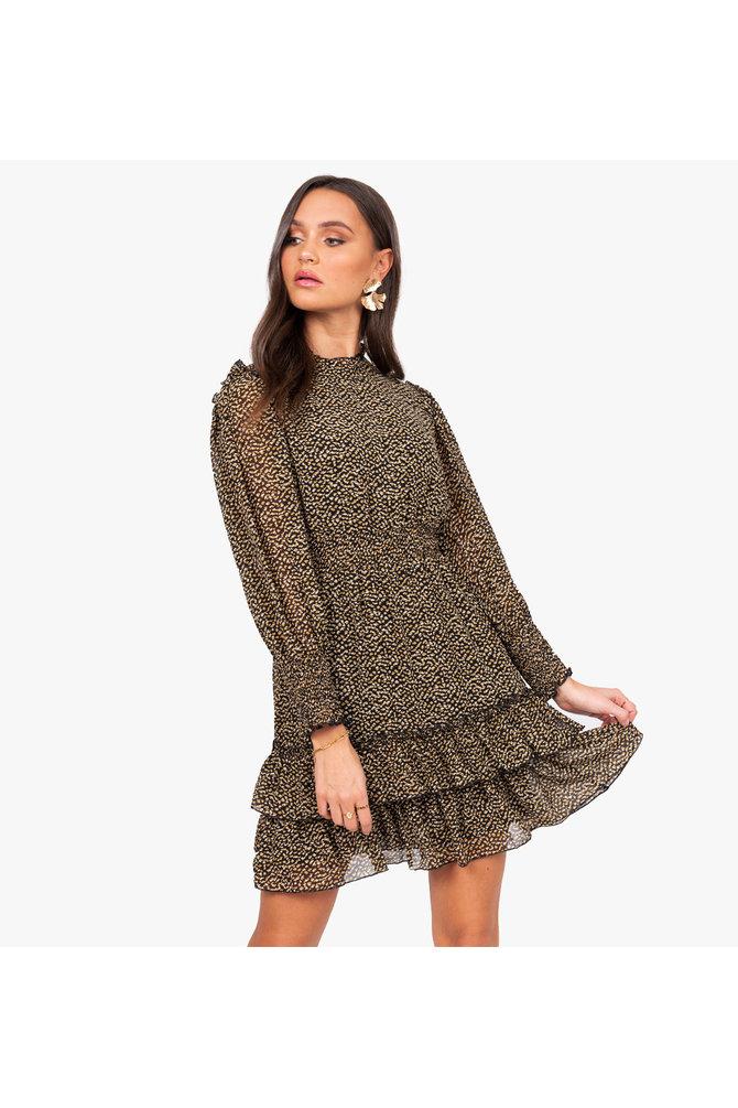Geprinte volant jurk