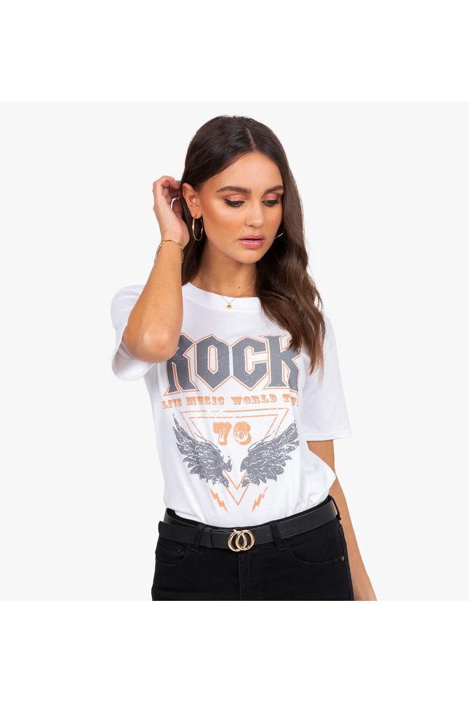 Witte rock shirt