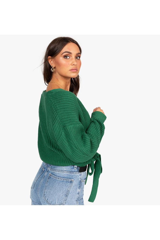 Groene overslag trui