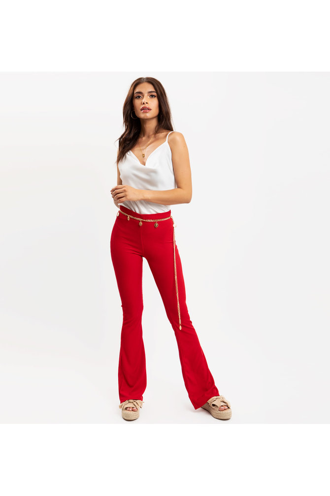 Rode flared broek