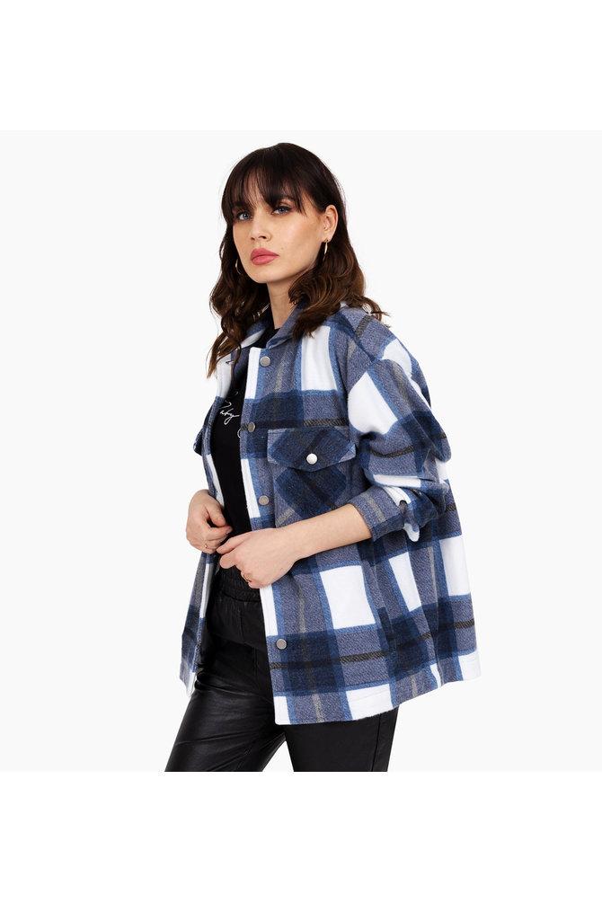 Blauwe tartan blouse