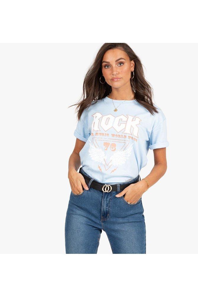 Blauwe rock shirt