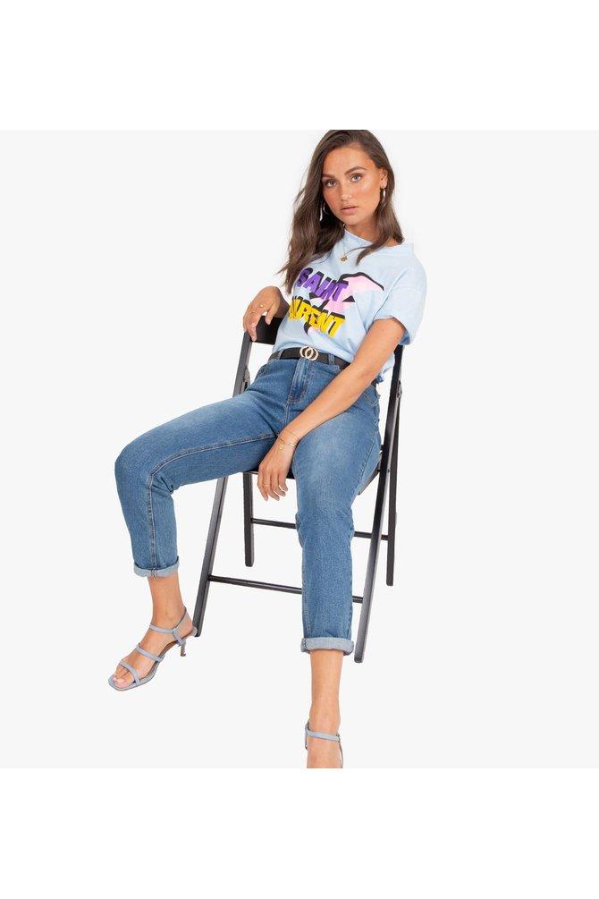 Blauwe saint laurent shirt