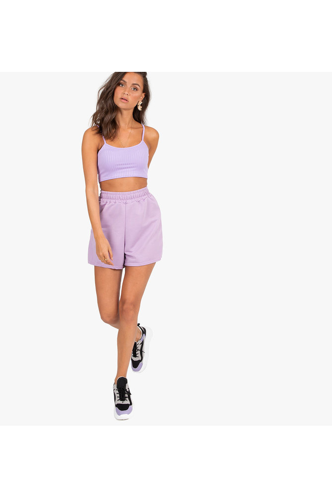 Paarse velours short