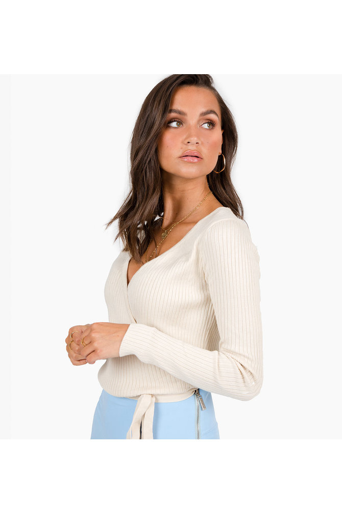 Beige wikkel trui