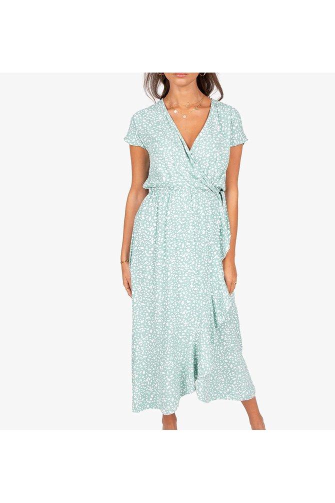 Groene wikkel jurk