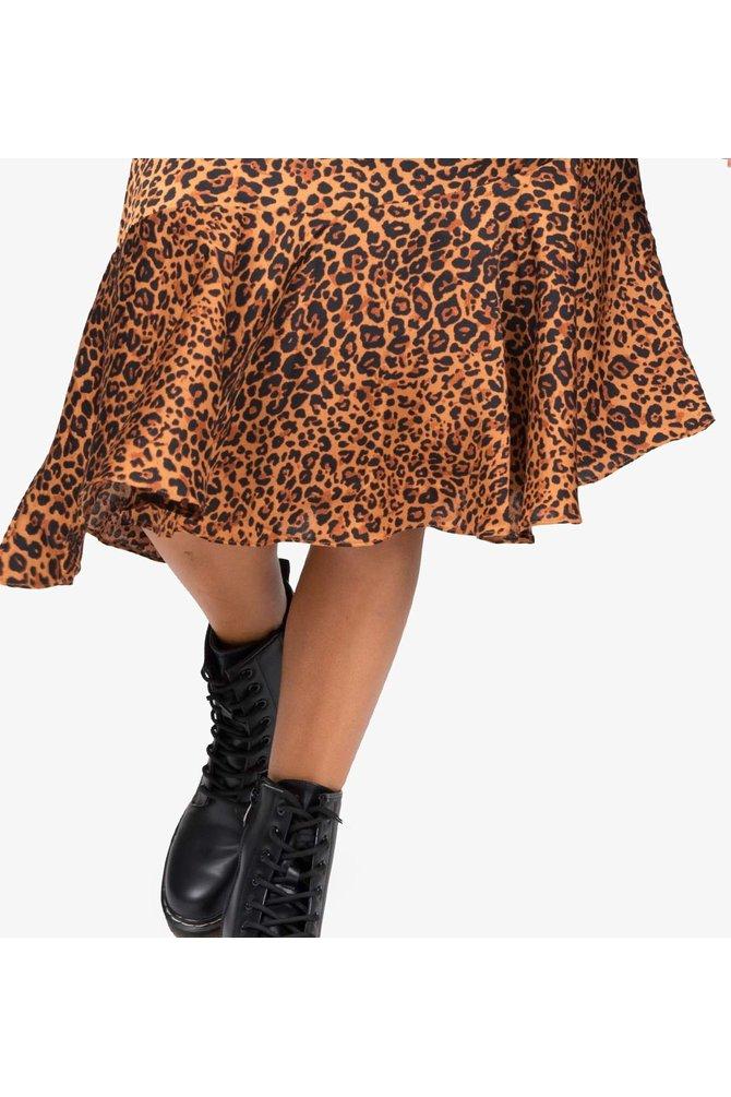 Luipaard midi rok