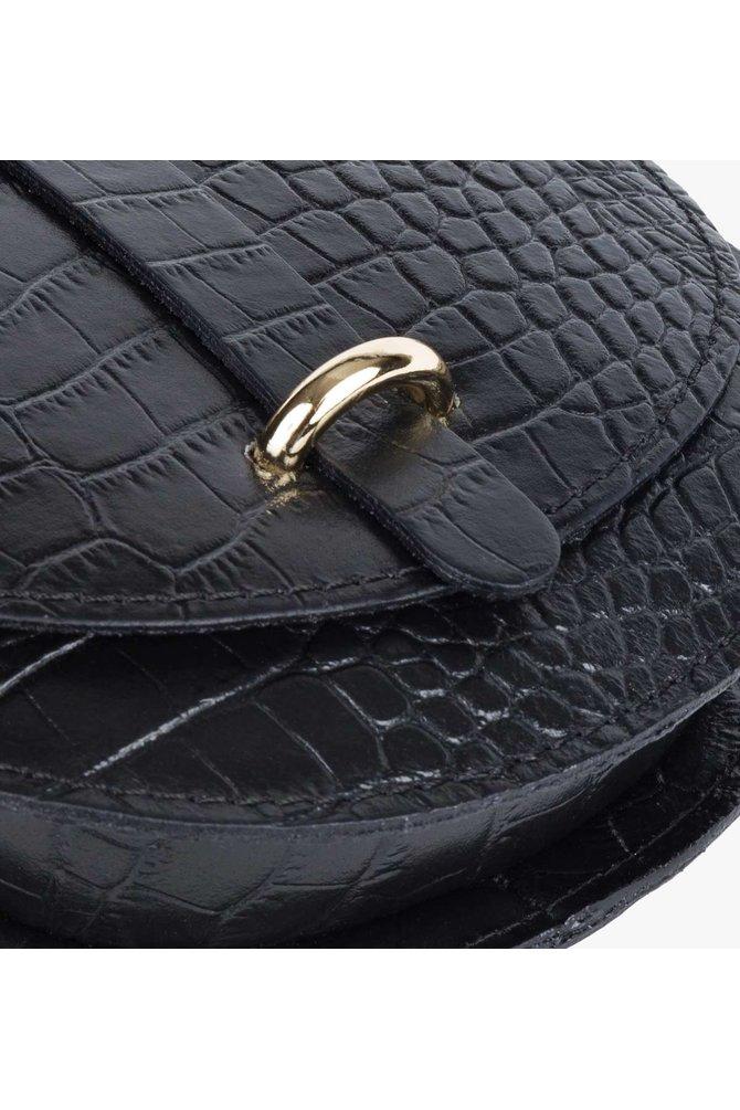 Zwarte croco mini tas