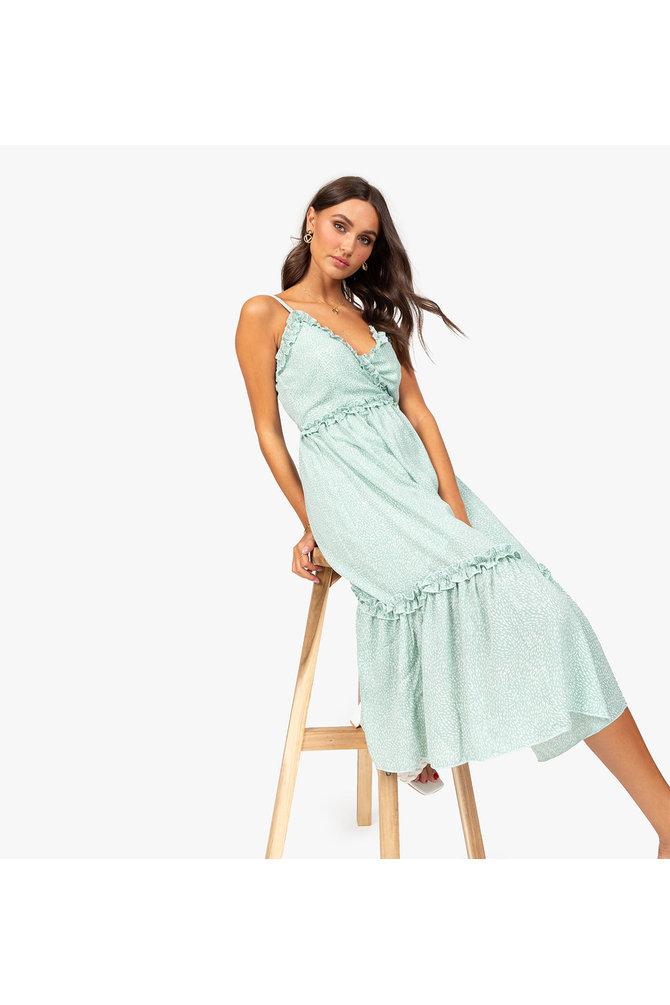 Groene stippen jurk