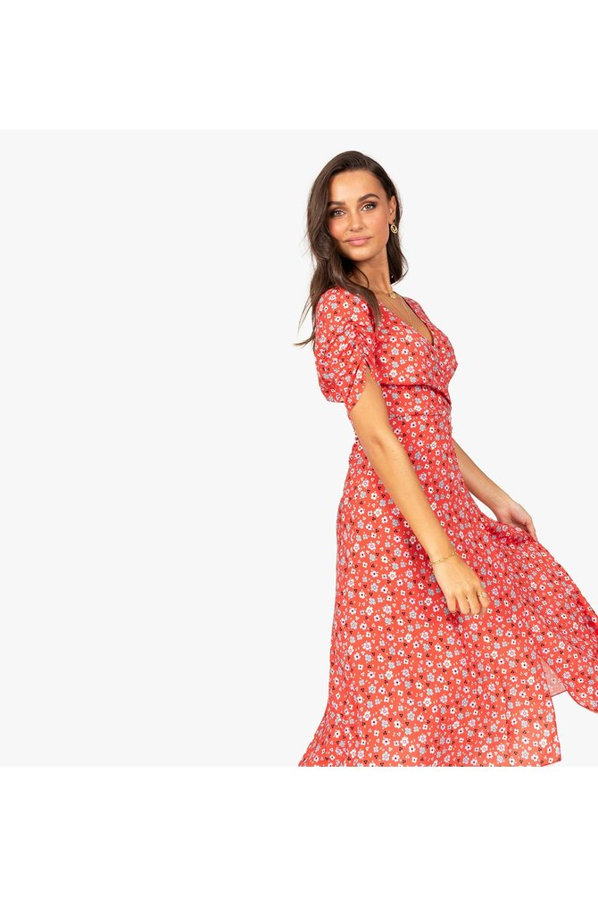 Rode bloemenprint jurk