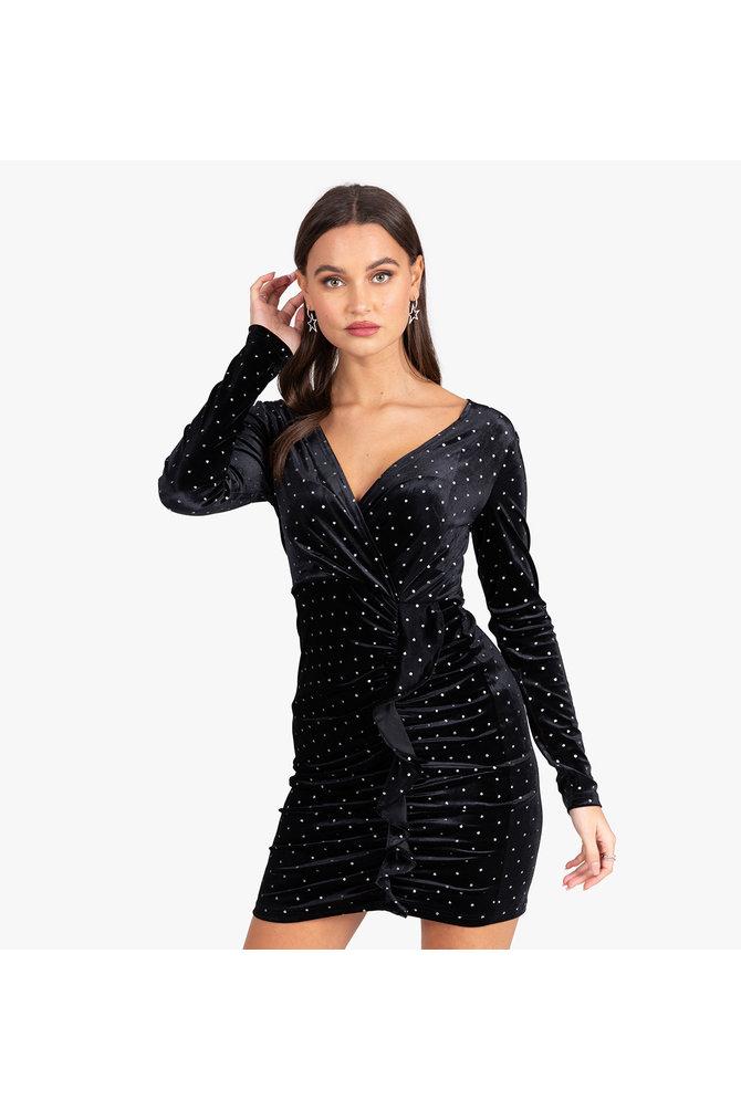 Zwarte velvet jurk