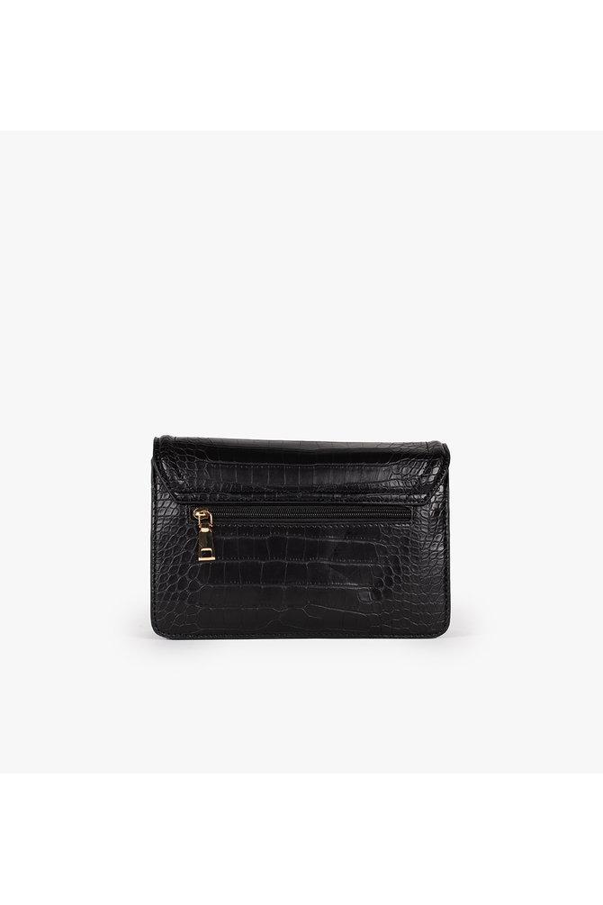 Zwarte tas met krokodillen dessin