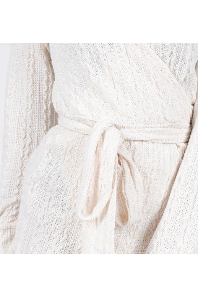 Crème wikkel jurk