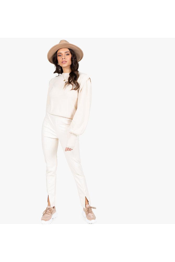 Witte leren broek