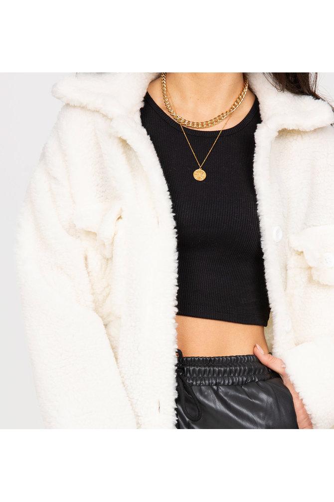 Witte teddy jas