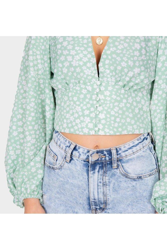 Groene crop blouse