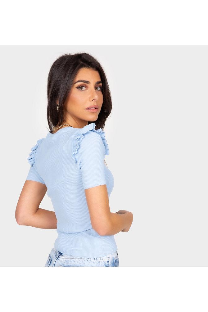 Blauwe top