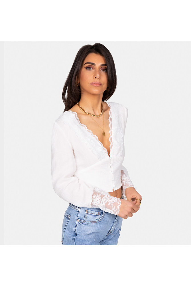 Kanten witte blouse