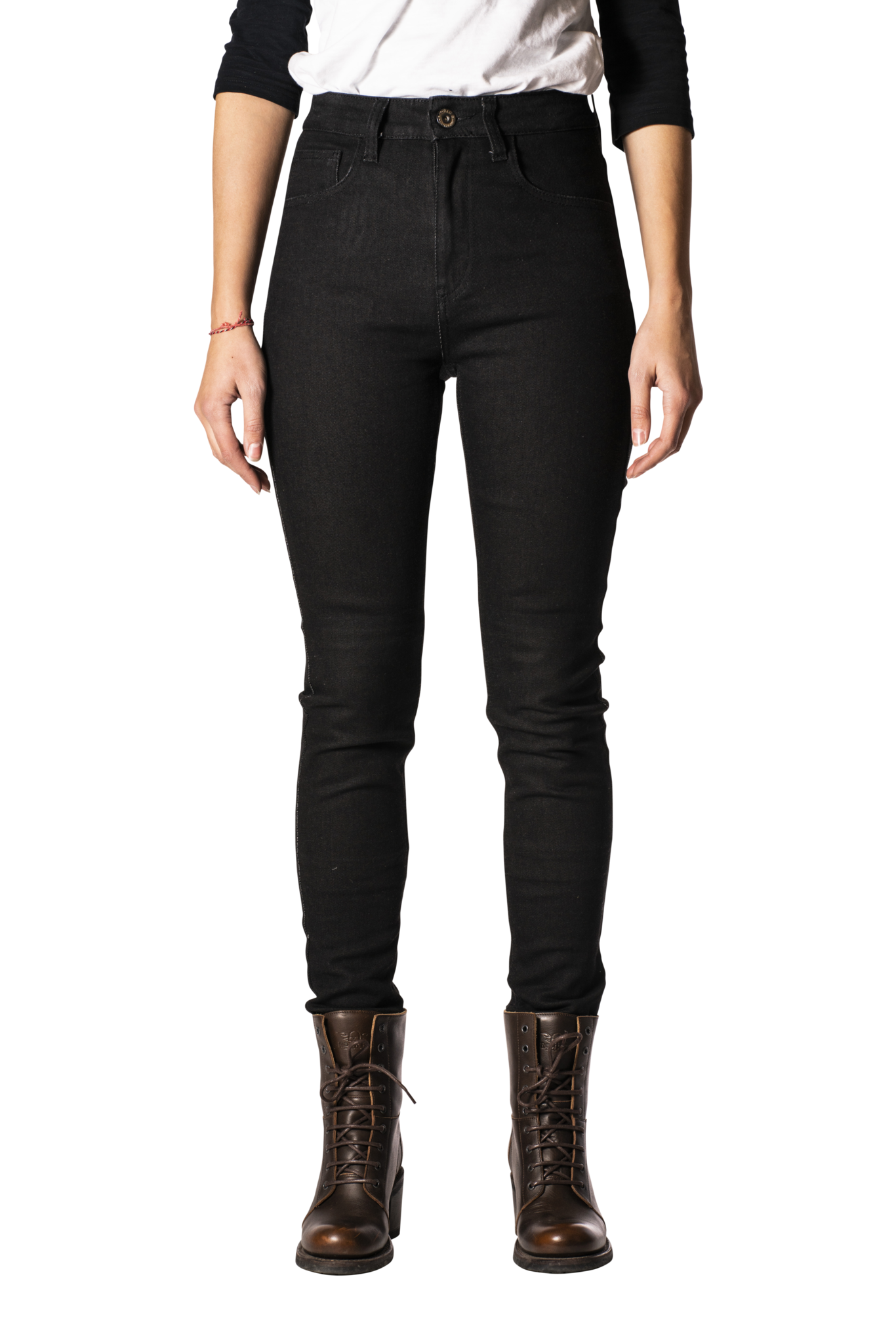 Rokkertech high waist black slim dames motorbroek L32-1