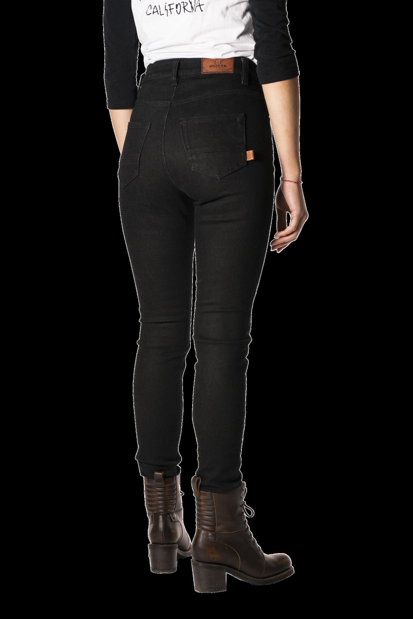 Rokkertech high waist black slim dames motorbroek L32-3