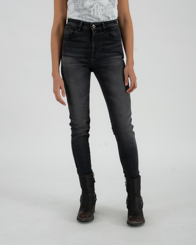 Rokkertech high waist dark grey slim dames motobroekL32-1