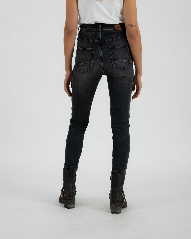 Rokkertech high waist dark grey slim dames motobroekL32-5
