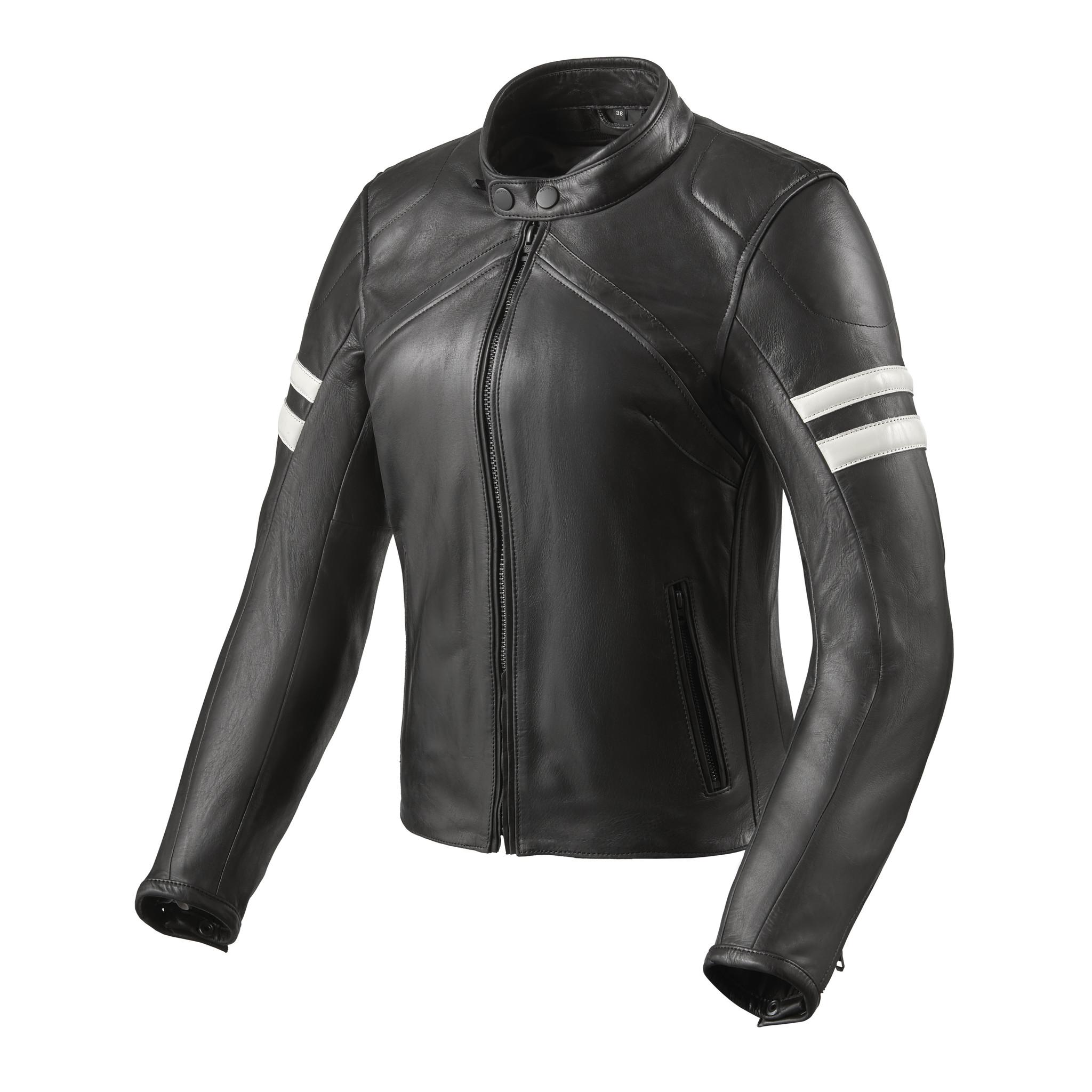 REV'IT! Leren dames motorjas Meridian Black White-1