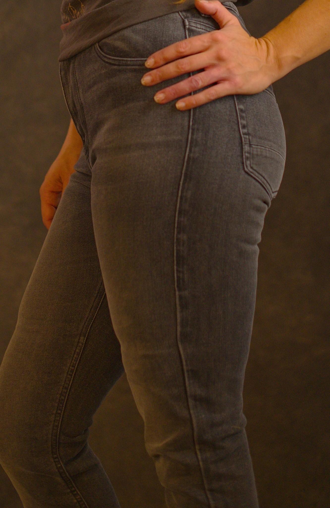 Rokkertech high waist dark grey slim dames motobroekL32-2