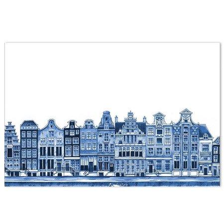 Placemat grachtenpanden Delfts blauw
