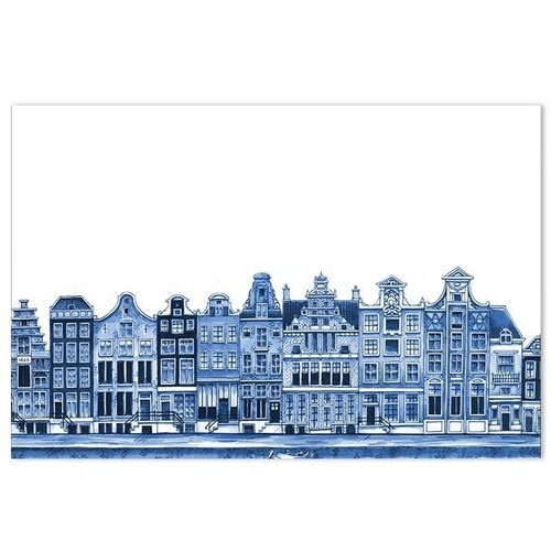 Placemat canal houses Delft blue