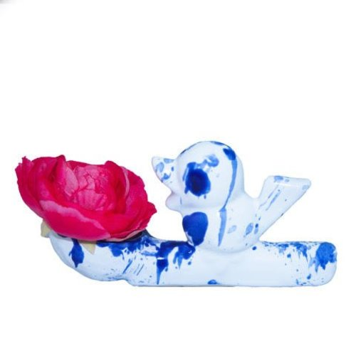 Blumendieb Vase Delft blau