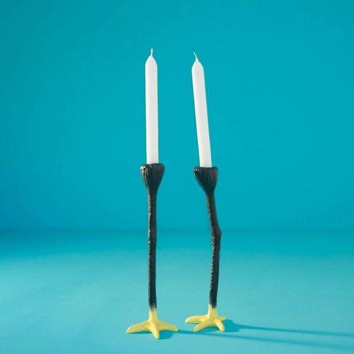 Hohe Beine Kerzenleuchter schwarz gelb