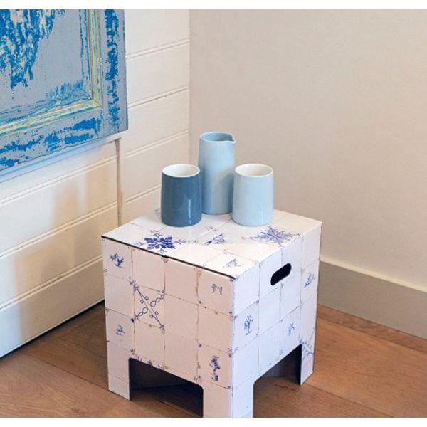 Niederländischer Designstuhl Delfter blaue Fliesen