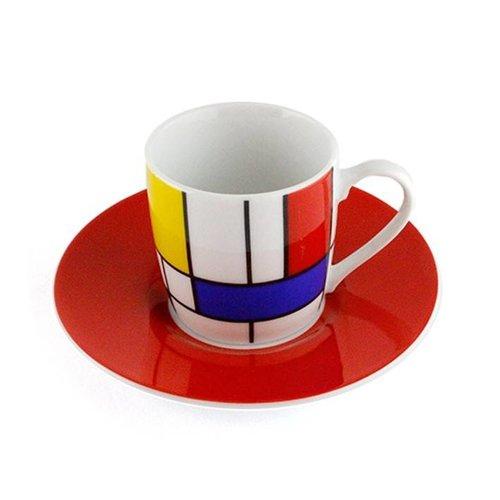 Set met 2 espressokopjes Mondriaan rood