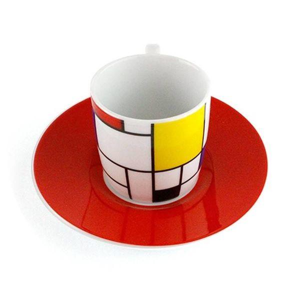 Set mit 2 Espressotassen Mondrian rot