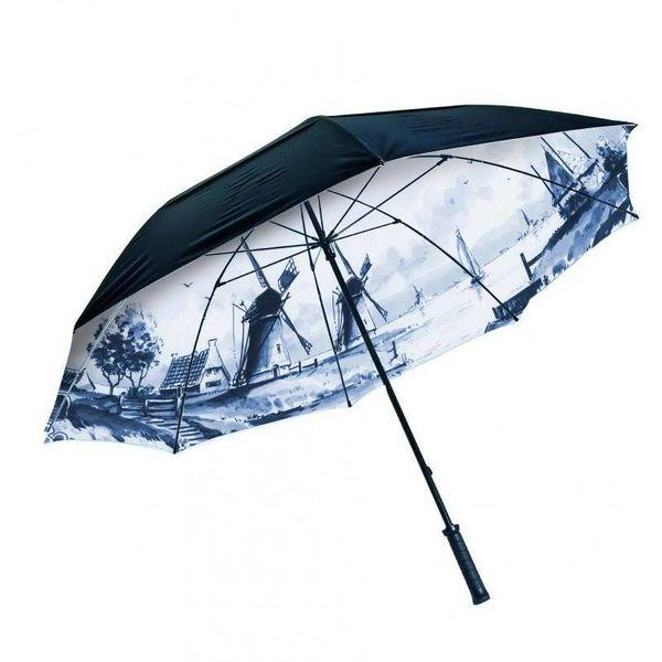 Parapluie pliant avec intérieur bleu de Delft