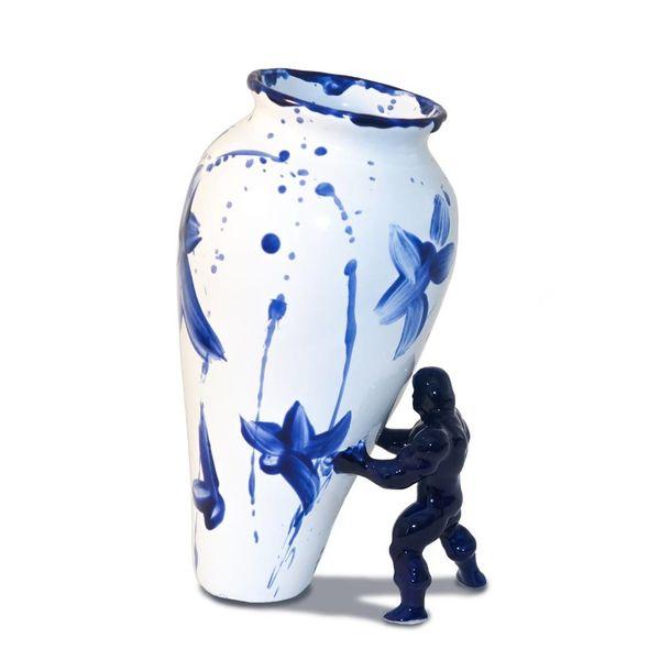 Unieke vaas met superheld  blauw wit