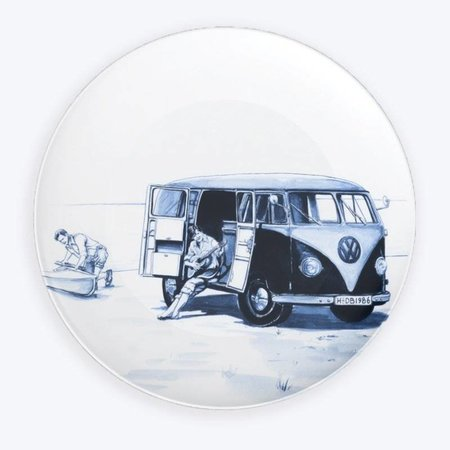 Volkswagen bus plate Delft blue